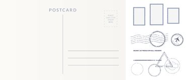 Postal elements set: empty postcard back, postage stamps and cancel marks imprints. Postal elements set: empty postcard back, postage stamps and cancel marks vector illustration