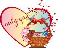 Postal en el día del `s de la tarjeta del día de San Valentín Foto de archivo