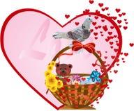 Postal en el día del `s de la tarjeta del día de San Valentín Fotografía de archivo