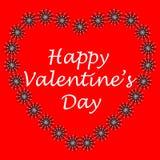 Postal en el estilo del arte del zen, día feliz del ` s de la tarjeta del día de San Valentín, corazón del flowe stock de ilustración