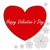 Postal en el estilo del arte del zen, día feliz del ` s de la tarjeta del día de San Valentín, corazón rojo con stock de ilustración