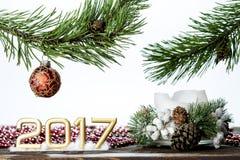 Postal 2017 en el fondo blanco Fotos de archivo libres de regalías