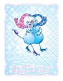 Postal en estilo de la vendimia con el coupl feliz patinador stock de ilustración
