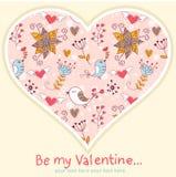 Postal encantadora de la invitación del día de tarjeta del día de San Valentín Imágenes de archivo libres de regalías