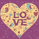 Postal encantadora de la invitación del día de tarjeta del día de San Valentín Fotos de archivo