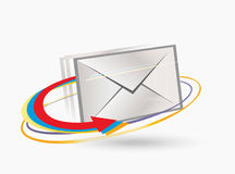 Postal envelope. And arrows.Vector illustration Royalty Free Stock Photo