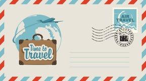 Postal envelope with illustration on travel theme Stock Photo