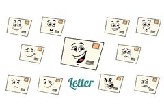 Postal envelope letter emotions emoticons set  on white Royalty Free Stock Image