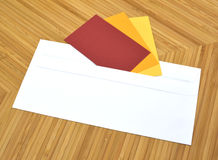 Postal envelope with post-it Royalty Free Stock Image