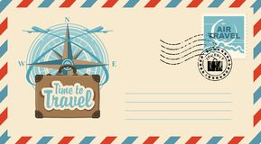 Postal envelope with stamp on the theme of travel. Postal envelope with stamp and rubber stamp. Illustration on the theme of travel with a suitcase, passenger royalty free illustration