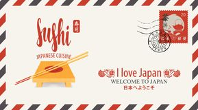 Postal envelope on the theme of Japanese cuisine stock illustration
