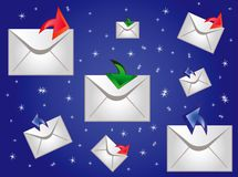 Postal envelopes on turn blue Stock Photo