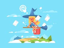 Postal fairy on a broom Royalty Free Stock Images