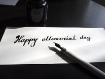Postal feliz de la caligrafía y de las letras del Memorial Day Opinión de perspectiva Pequeñas cartas Imagen de archivo libre de regalías