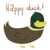 Postal feliz plana del pato de la historieta del vector ilustración del vector