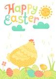 Postal festiva feliz de Pascua con la gallina, los pollos y los huevos pintados en un prado ilustración del vector