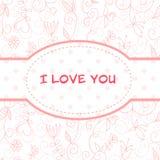 Postal floral encantadora del día de tarjeta del día de San Valentín Imagen de archivo libre de regalías
