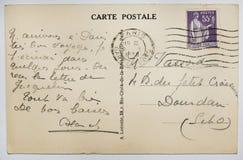 Postal francesa antigua con el sello de París Imágenes de archivo libres de regalías