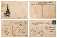 Postal francesa antigua con el sello de París Elemen del libro de recuerdos fotos de archivo