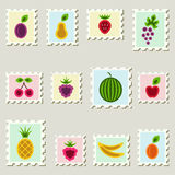 Postal fruits stamps set. Stock Image