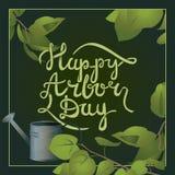 Postal handlettering de la caligrafía feliz del día del árbol Fotos de archivo libres de regalías