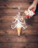 Postal hecha a mano creativa de la Feliz Año Nuevo Imagenes de archivo