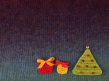 Postal hecha punto hecha a mano de la Navidad Imágenes de archivo libres de regalías