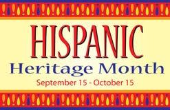 Postal hispánica colorida de la bandera del mes de la herencia foto de archivo libre de regalías