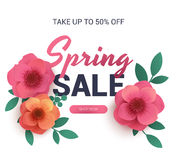 Postal a la venta de la primavera, con las flores de papel stock de ilustración
