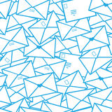 Postal letters envelopes line art seamless pattern Stock Image