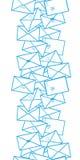 Postal letters envelopes line art vertical seamless pattern background border. Vector Postal letters envelopes line art vertical seamless pattern background Stock Photo