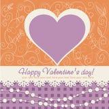 Postal linda del corazón del día de tarjeta del día de San Valentín Imagen de archivo libre de regalías