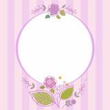 Postal, marco, lila, rayada con las flores Fotos de archivo libres de regalías