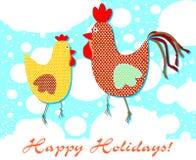 Postal modelada con un gallo y una gallina libre illustration