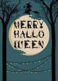 Postal o cartel de Halloween stock de ilustración