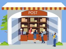 Postal office. Receiving postal parcels, shipments. In minimalist style. Cartoon flat vector. Illustration vector illustration