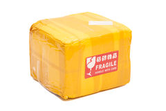 Postal package box or shipping box Stock Photos