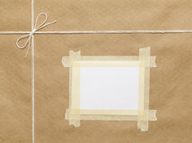 Postal Package Top. Brown Wrapped Package with String And Copy Space royalty free stock photography