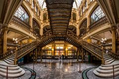 The Postal palace Palacio Postal, a post office built at the beginning of the 1900s in Mexico City. An interior view of the Postal Palace Palacio Postal, a turn stock photography