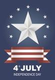 Postal para el día de fiesta del Día de la Independencia en América Imagen de archivo libre de regalías