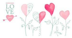 Postal para el día de tarjeta del día de San Valentín stock de ilustración