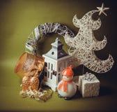 Postal para el diseño con los juguetes del Año Nuevo Fotos de archivo