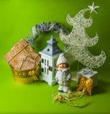 Postal para el diseño con los juguetes del Año Nuevo Fotografía de archivo