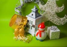 Postal para el diseño con los juguetes del Año Nuevo Fotografía de archivo libre de regalías