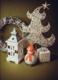Postal para el diseño con los juguetes del Año Nuevo Foto de archivo libre de regalías