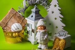 Postal para el diseño con los juguetes del Año Nuevo Fotos de archivo libres de regalías