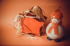Postal para el diseño con los juguetes del Año Nuevo Imagen de archivo libre de regalías