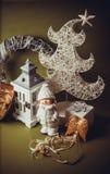 Postal para el diseño con los juguetes del Año Nuevo Imágenes de archivo libres de regalías