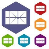 Postal parcel icons set hexagon. Isolated vector illustration Stock Images