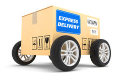 Postal parcel on wheels. Isolated on white background vector illustration